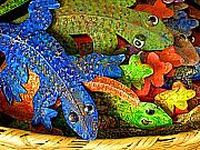 Folkart Prints - Basketful of Geckos Print by Olden Mexico