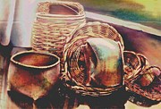 Dallas Pastels Metal Prints - Baskets Metal Print by Diana Moya