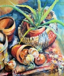 Pottery Paintings - Baskets by Linda Shackelford