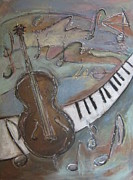Musical Notes Painting Originals - Bass and  Keys by Anita Burgermeister