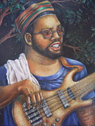 African American Man Drawings Prints - Bass at NIght Print by Jane Jolly Chappell