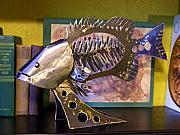 Iron  Sculptures - Bass Bone Fish by Dillon Chandler