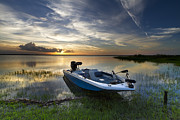 Ocean River Prints - Bass Fishin Evening Print by Debra and Dave Vanderlaan