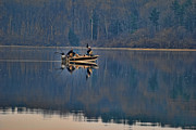 Fishing In A Lake Metal Prints - Bass Fishing Metal Print by Paul Ward
