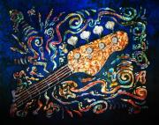 Batik Tapestries - Textiles Posters - Bass Guitar  Poster by Sue Duda