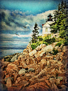Lighthouse Digital Art - Bass Harbor - Acadia NP by Lianne Schneider