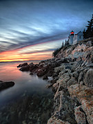 Maine Shore Framed Prints - Bass Harbor Head Lighthouse at Sunset Framed Print by George Oze