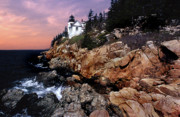 American Lighthouses Photo Posters - Bass Harbor Head Lighthouse In Maine Poster by Skip Willits