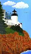 Bass Head Lighthouse Posters - Bass Harbor Head Lighthouse Painting Poster by Frederic Kohli