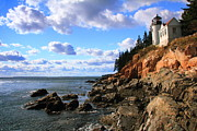 Bass Head Lighthouse Posters - Bass Harbor Head seascape Poster by Roupen  Baker