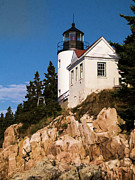 Acadia National Park Posters - Bass Harbor Light Acadia National Park Maine Poster by Edward Fielding