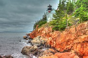 Maine Shore Framed Prints - Bass Harbor Light House Framed Print by Richard Mann