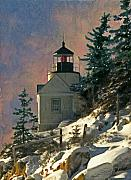 National Park Paintings - Bass Harbor Light in a Winter Storm by Brent Ander