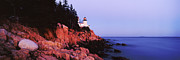 Maine Shore Framed Prints - Bass Harbor Lighthouse at Dusk Framed Print by Jeremy Woodhouse