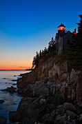 Ocean Sunset Prints - Bass Harbor Lighthouse Maine Print by Steve Gadomski