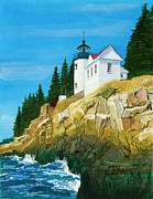 Atlantic Ocean Painting Posters - Bass Harbor Lighthouse Poster by Mike Robles