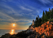 Sky Scape Art - Bass Harbor LightHouse by Sharon Batdorf
