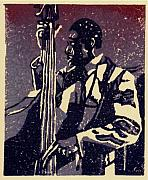 Linocut Reliefs Metal Prints - Bass Metal Print by John Brisson