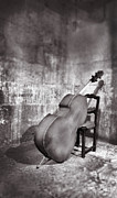 Double Bass Prints - Bass Leaning On Chair Print by Grant Faint