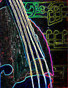 Bass Digital Art Prints - Bass Lessons Blues - Neon Print by Lisa Anne Riley