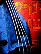 Bass Digital Art - Bass Lessons Blues - Revisited by Lisa Anne Riley