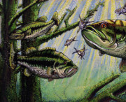 Fish Underwater Painting Originals - Bass on the Feed by Bob Crawford