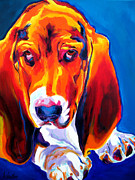 Alicia Vannoy Call Painting Framed Prints - Basset - Ears Framed Print by Alicia VanNoy Call