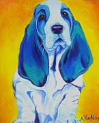Alicia Vannoy Call Framed Prints - Basset - Ol Blue Framed Print by Alicia VanNoy Call