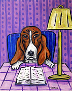 Library Paintings - Basset Hound at the Library by Jay  Schmetz