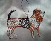 Copper Wire Sculpture Acrylic Prints - Basset hound Acrylic Print by Charlene White