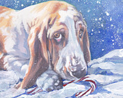 Basset Framed Prints - Basset Hound Christmas Framed Print by Lee Ann Shepard