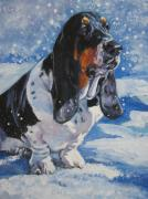 Basset Prints - basset Hound in snow Print by L A Shepard