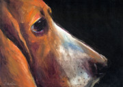Gifts Drawings - Basset Hound painting 2  by Svetlana Novikova
