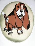 Prairie Dog Ceramics - Basset Hound Plaque by Sandi Floyd