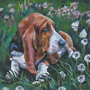 Basset Hound Photos - Basset Hound With Butterflies by Lee Ann Shepard