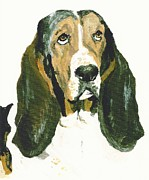 Hound Pastels Framed Prints - Basset Smokey Framed Print by Jessica Raines