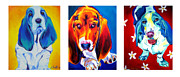 Basset Framed Prints - Basset Trio Framed Print by Alicia VanNoy Call