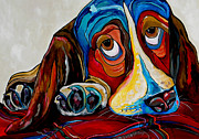Happy Art Posters - Bassett Has The Blues Poster by Patti Schermerhorn