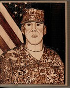 Military Pyrography - Basswood by Timothy Wilkerson