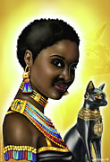Hathor Digital Art Metal Prints - Bast Egyptian Goddess of Pleasure Metal Print by Emhotep Richards