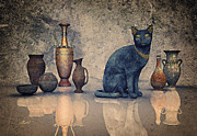Ceramic Jug Framed Prints - Bastet and Pottery Framed Print by Jutta Maria Pusl
