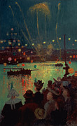 Crowds Paintings - Bastille Day at Lorient by Henry Moret