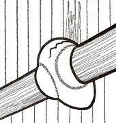 Baseball Bat Drawings - Bat and Ball Egg by Phil Burns