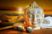 Aromatherapy Photos - Bath accessories with buddha statue at sunset by Sandra Cunningham