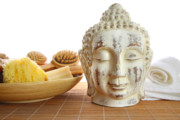 Therapy Prints - Bath accessories with buddha statue Print by Sandra Cunningham