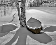 Lakescape Prints - Bath and Snowy Rowboat Print by Ari Salmela