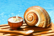 Objects Photo Acrylic Prints - Bath salts and sea shell by the pool Acrylic Print by Sandra Cunningham