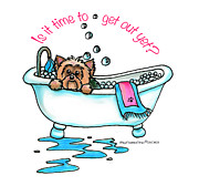 Puppy Mixed Media - Bath time by Catia Cho