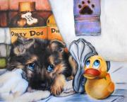 Cute Puppy Prints - Bath time Print by Jai Johnson