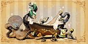 Steampunk Framed Prints - Bath Time With Otto Framed Print by Brian Kesinger
